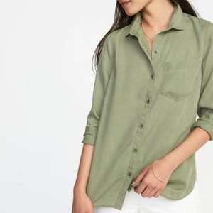 OLD NAVY relaxed tencel olive long sleeve R6